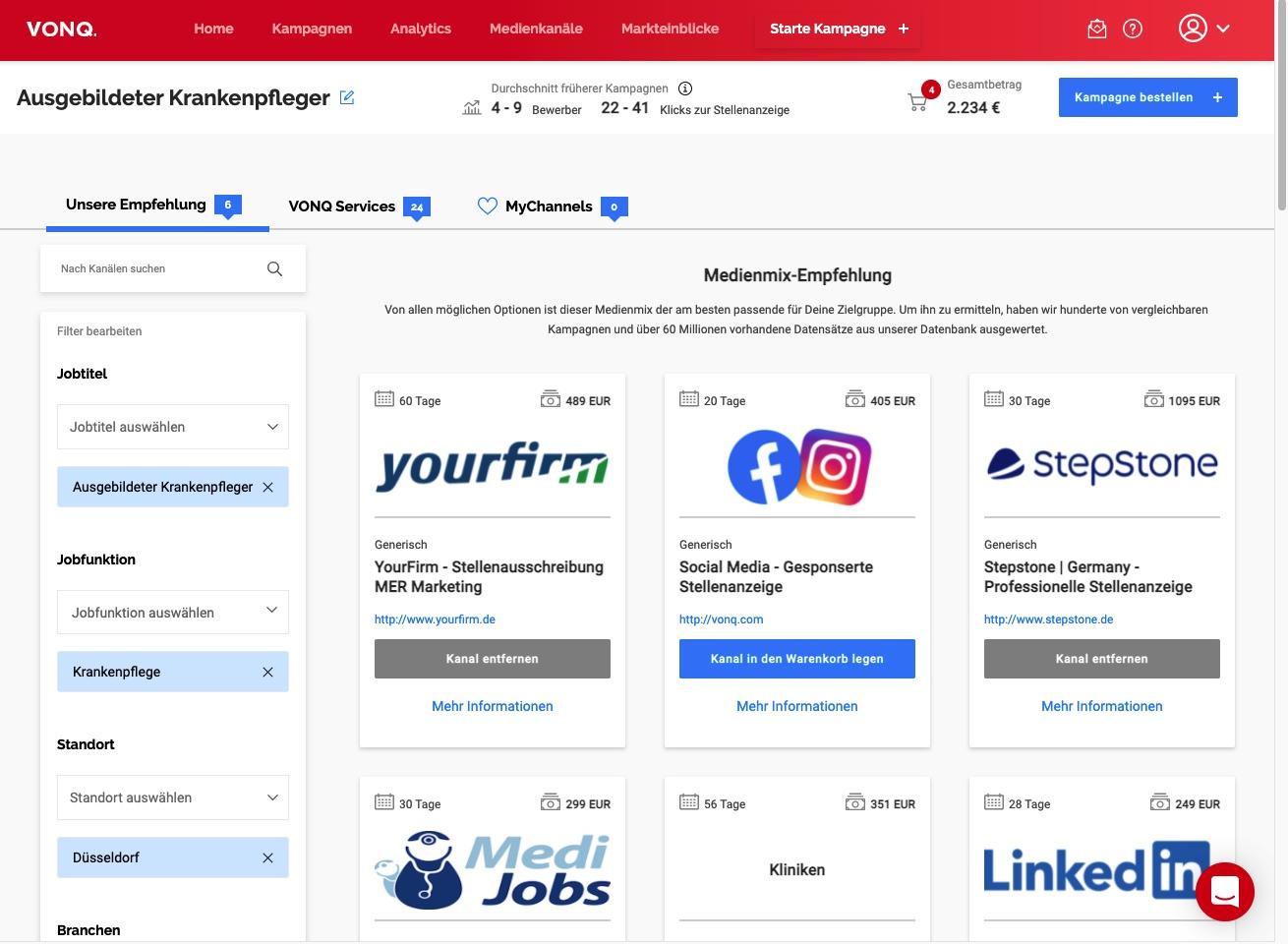 Die Kachel-Ansicht der Job Marketing Plattform mit der neuen Übersicht der einzelnen Medienkanäle.
