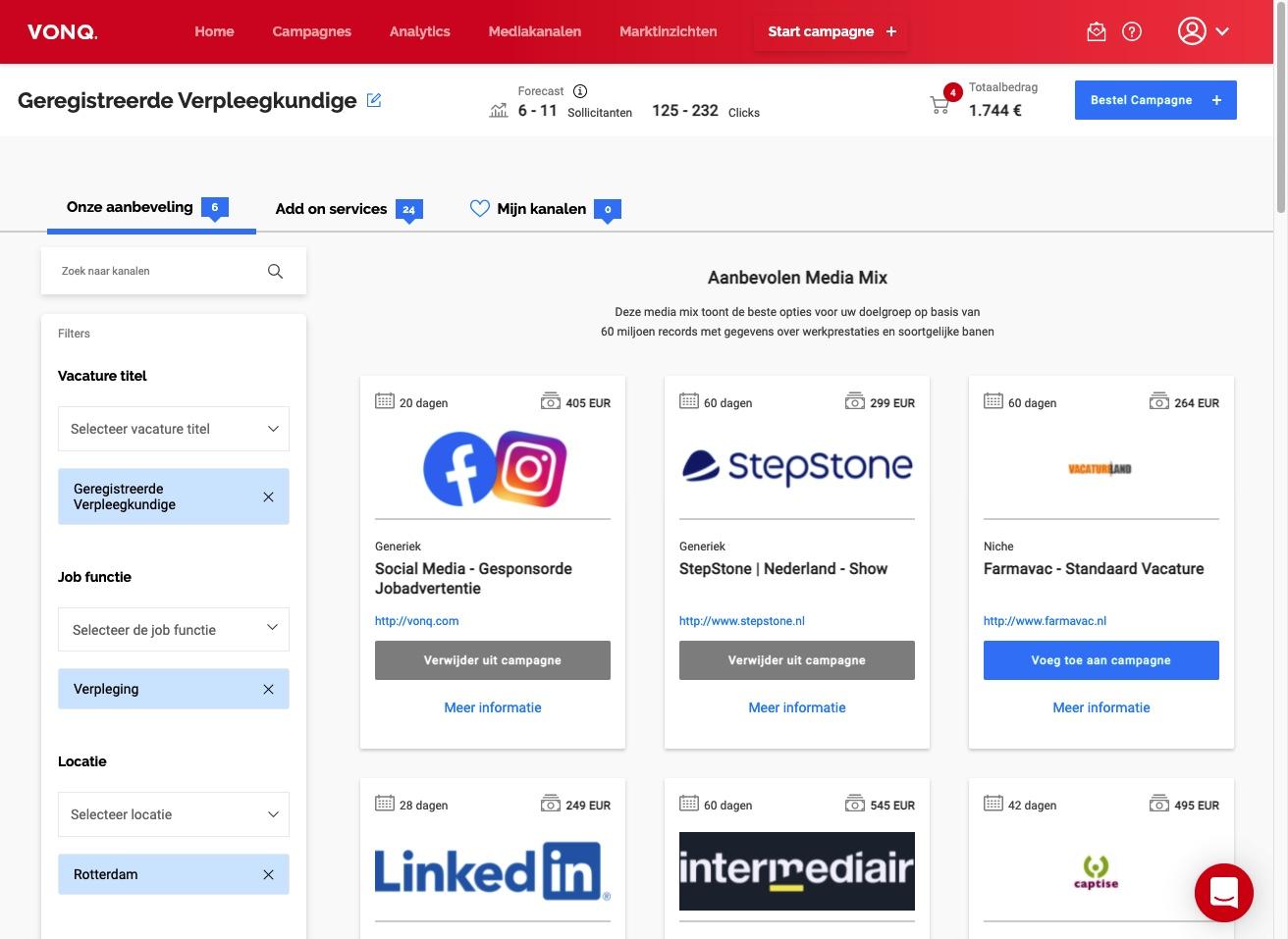 """Het Job Marketing Platform marketplace overzicht met het nieuwe """"kaart"""" overzicht van elk mediakanaal."""
