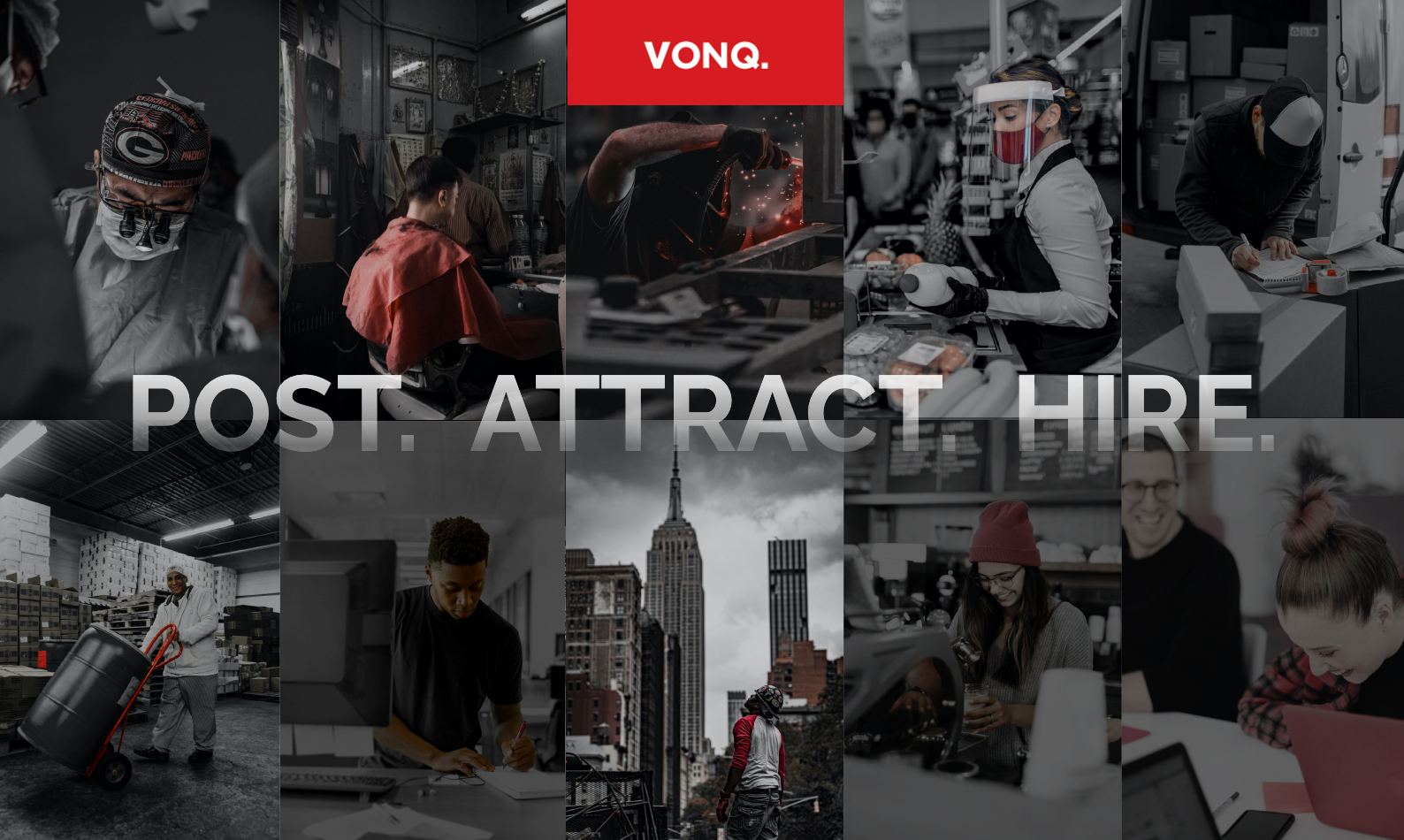 VONQ 2021 Rebrand Working People with touches of VONQ red